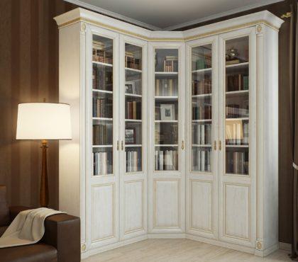 Книжный шкаф угловой в классическом стиле